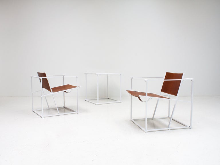 FM62 Steel & Leather Chairs & Side Table by Radboud Van Beekum for Pastoe, 1980s For Sale 3
