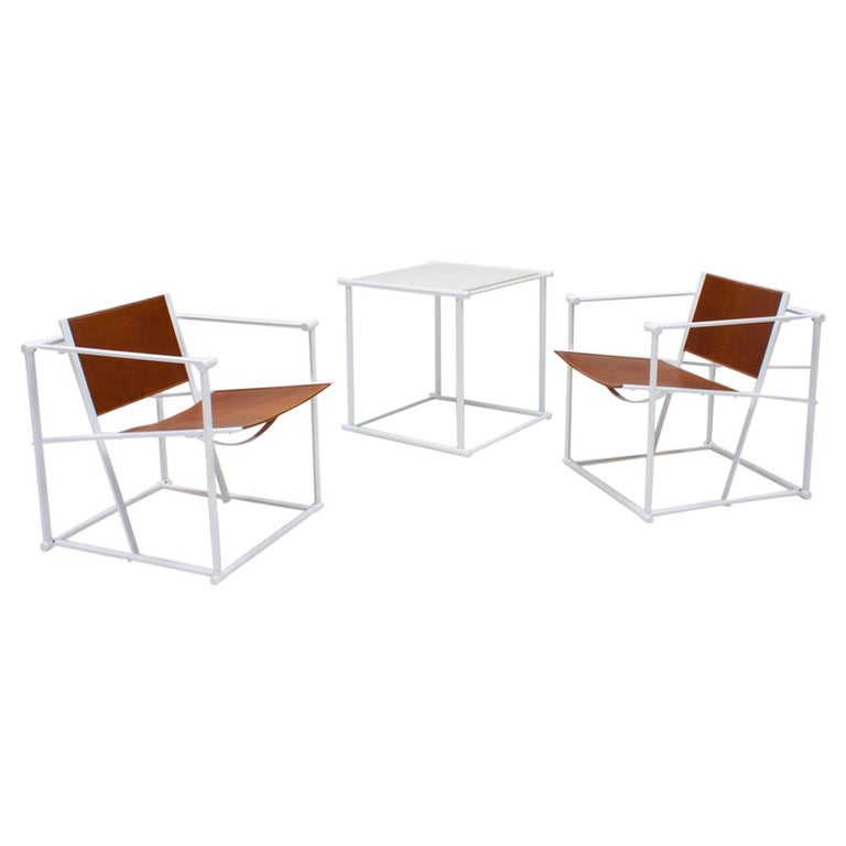 FM62 Steel & Leather Chairs & Side Table by Radboud Van Beekum for Pastoe, 1980s For Sale