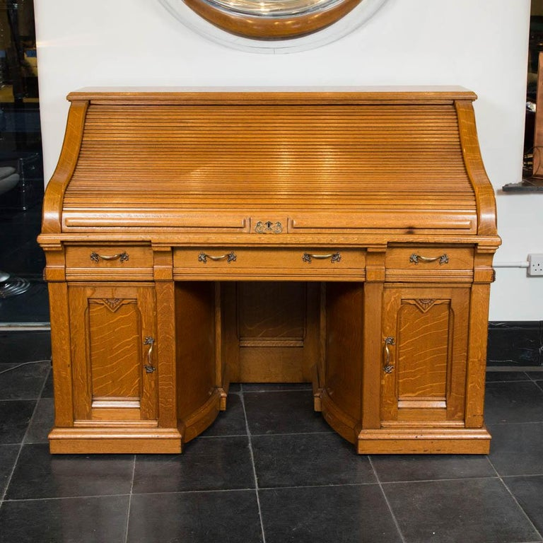 """Pier One Furniture Quality: Oak Roll Top """"Double Pier Rotary"""" Desk, By The Shannon"""
