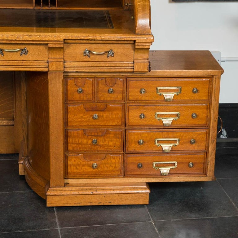 """Pier One Furniture Quality: Fne Quality Oak Roll Top """"Double Pier Rotary"""" Desk, By The"""