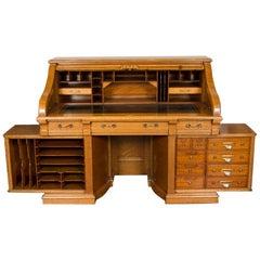 """Oak Roll Top """"Double Pier Rotary"""" Desk, by the Shannon Desk Co"""