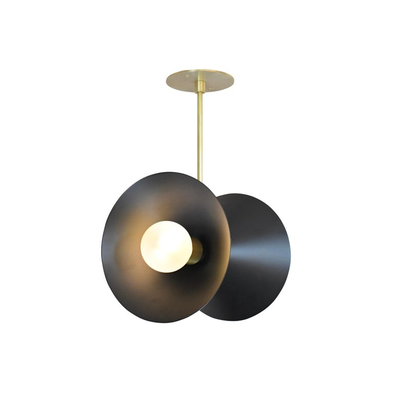 American Focal Point Pendant Light in Brass and Black Enamel by Blueprint Lighting, 2019 For Sale