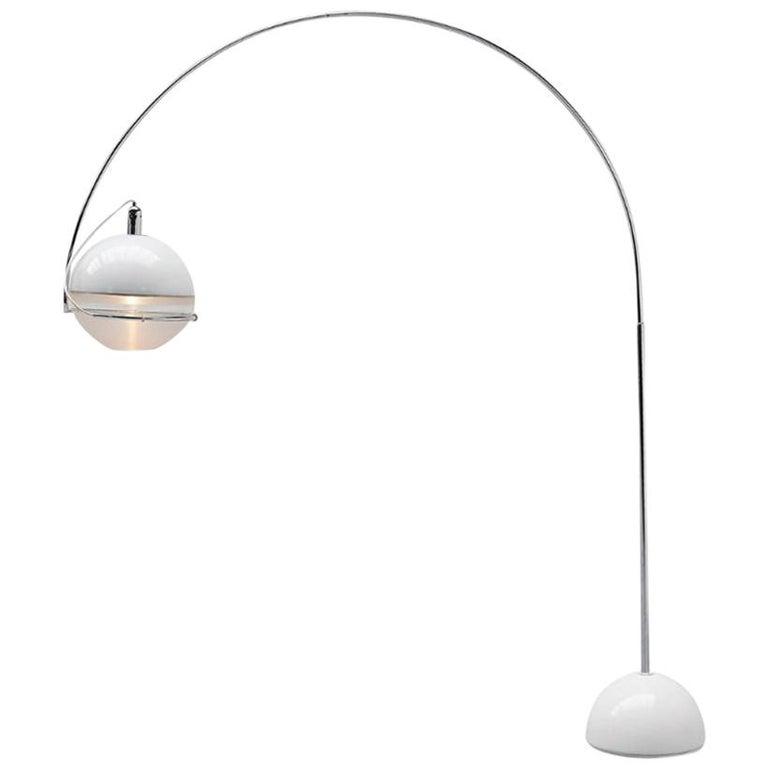 """Focus"" Arc by Fabio Lenci Guzzini 1970s Italian Design Floor Lamp For Sale"