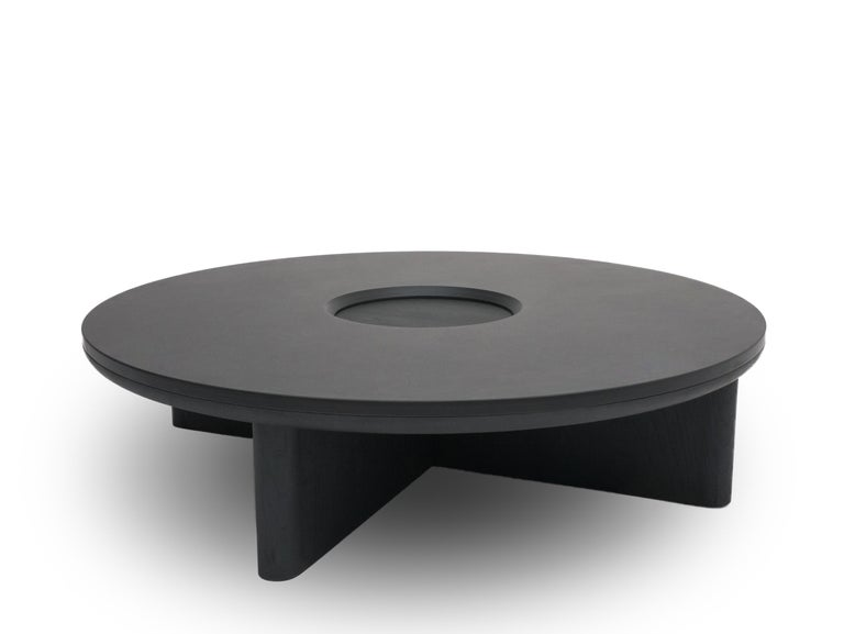 British Focus, Solid Black Oak & Welsh Slate Contemporary Side Table by Made in Ratio For Sale