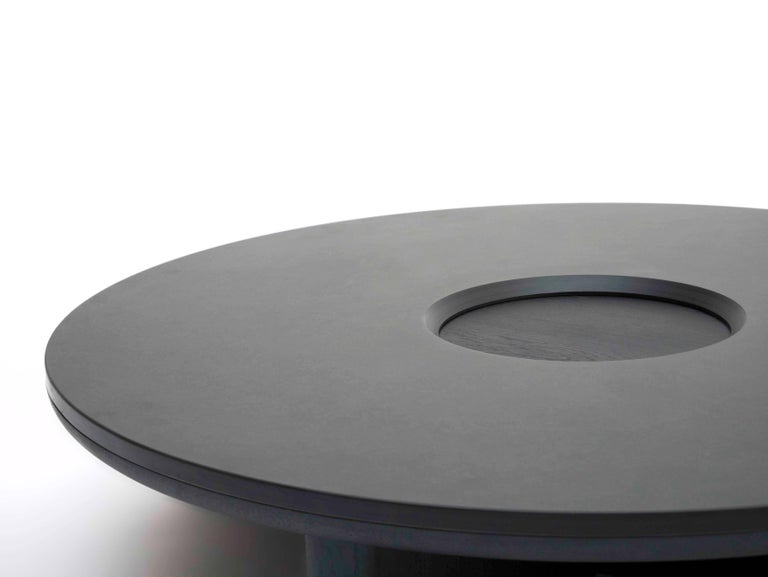 Modern Focus, Solid Black Oak & Welsh Slate Large Coffee Table by Made in Ratio For Sale