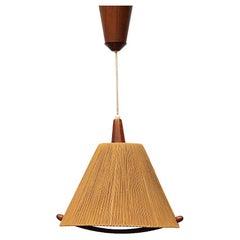 Fog and Morup Teak and Hemp Pendant Lamp by Ib Fabiansen