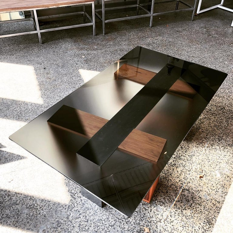 American Fog Coffee Table by CAUV Design Acid Etched Glass Burnished Steel and Redwood For Sale