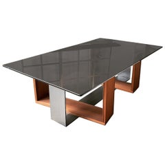 Fog Coffee Table by CAUV Design Acid Etched Glass Burnished Steel and Redwood