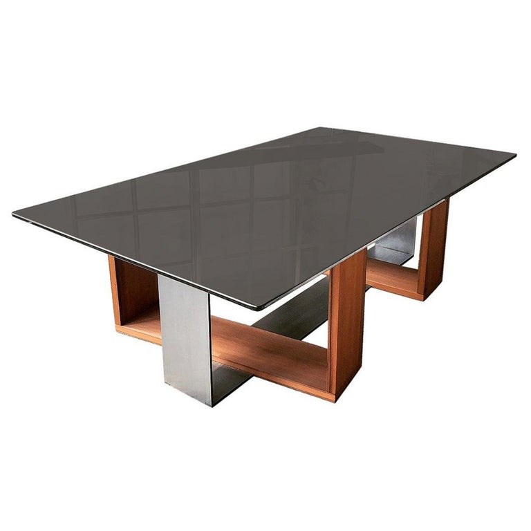 Fog Coffee Table by CAUV Design Acid Etched Glass Burnished Steel and Redwood For Sale