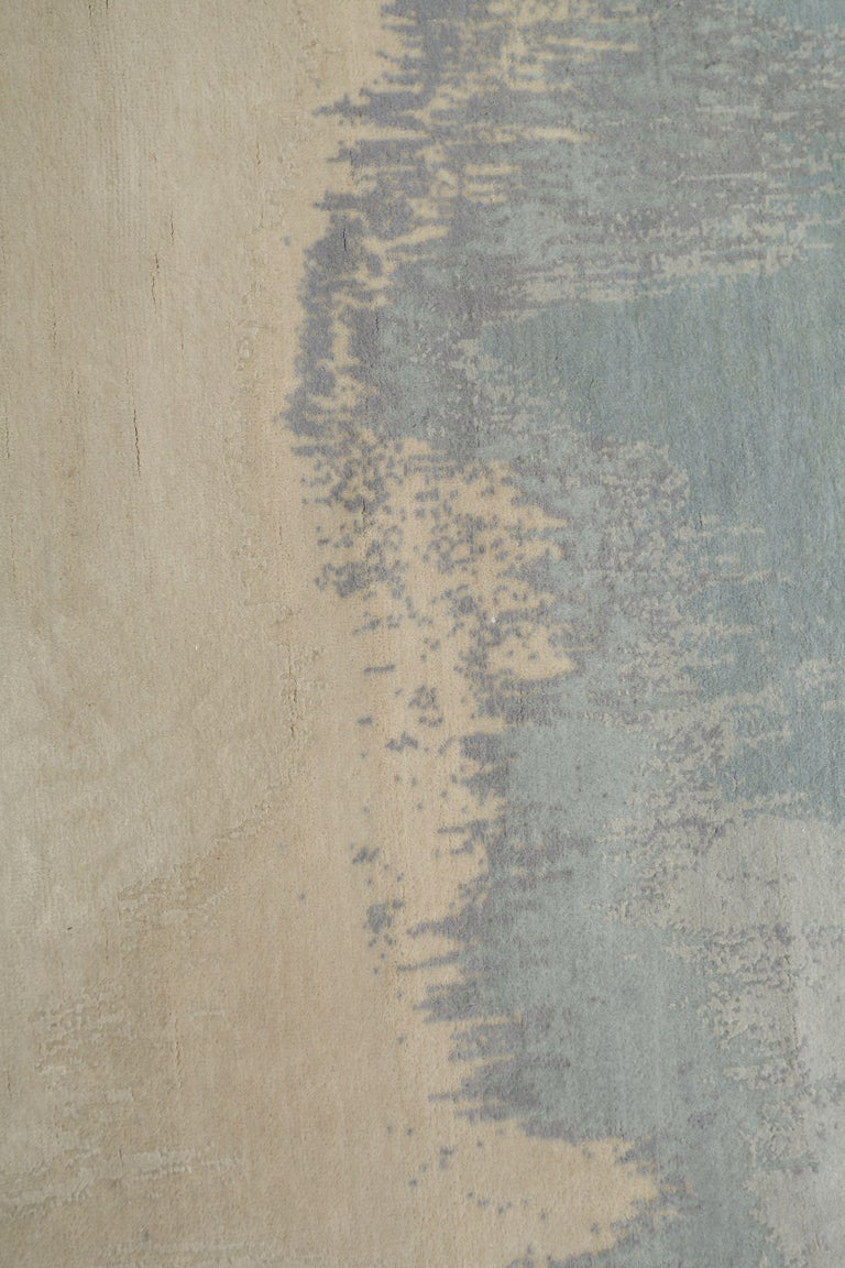 Hand-Knotted Fog, Hand Knotted with New Zealand Wool and Silk Area Rug by Thirty Six Knots For Sale