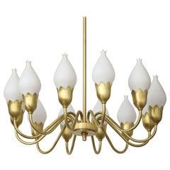 Fog & Morup 12-Arm Brass, Tulip Glass Chandelier