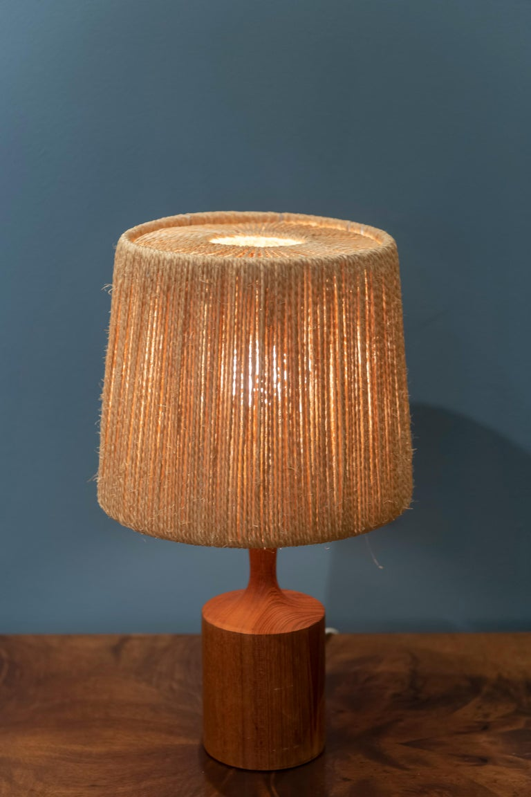 Mid-20th Century Fog & Morup Jute Table Lamp For Sale