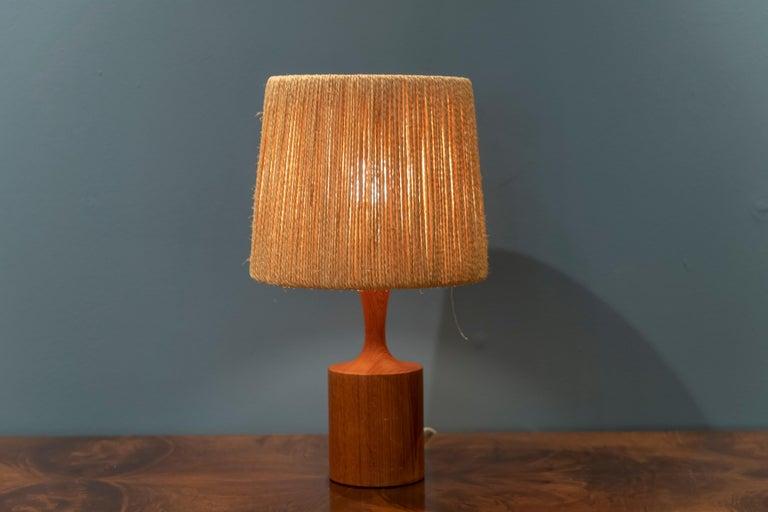 Teak Fog & Morup Jute Table Lamp For Sale