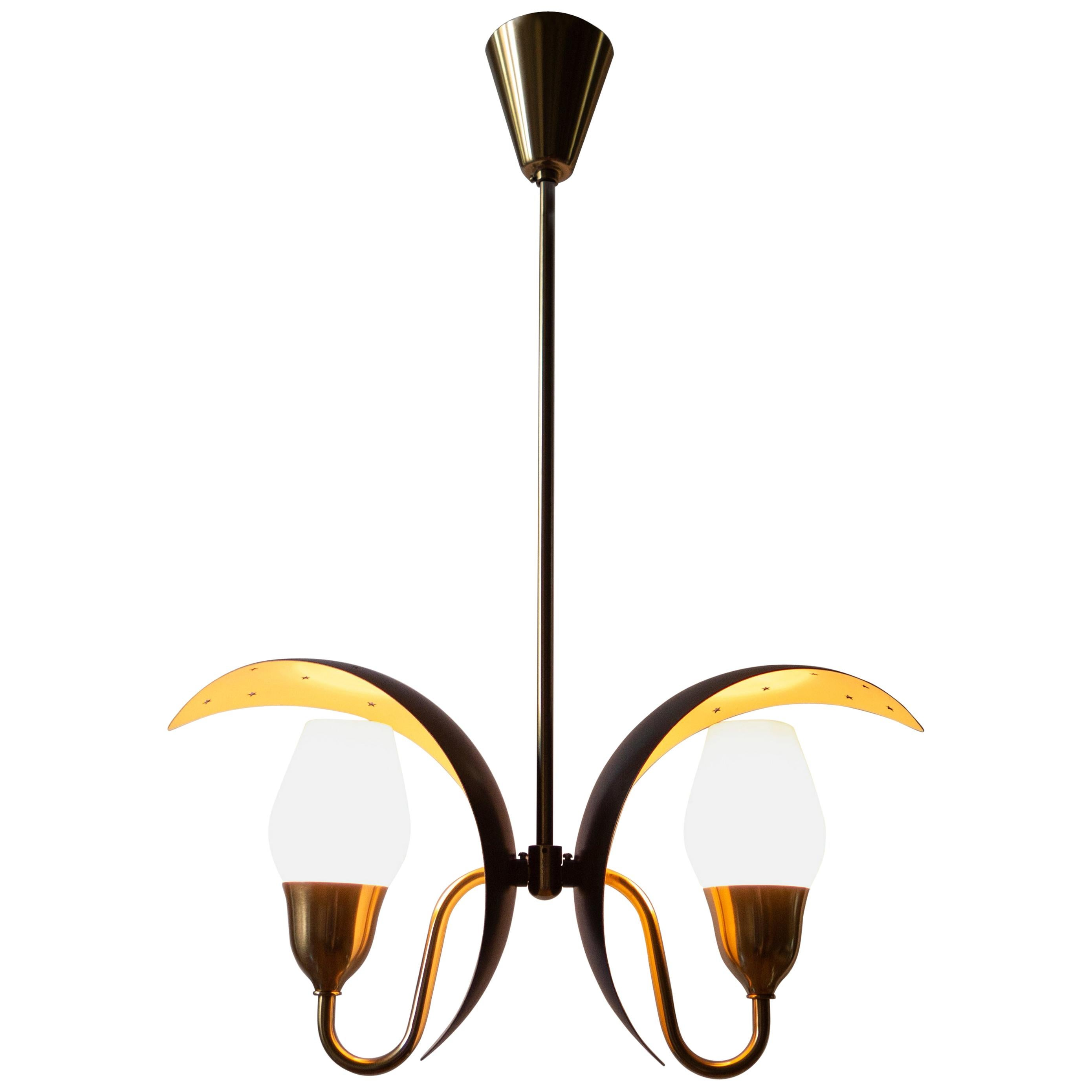 Fog & Mørup, Danish Black and White Painted, Brass and Glass 2-Arm Chandelier