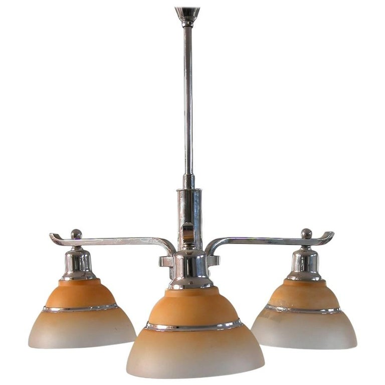 Fog & Mørup, Early Chandelier with Three Arms, Chrome and Glass Shades, Denmark For Sale