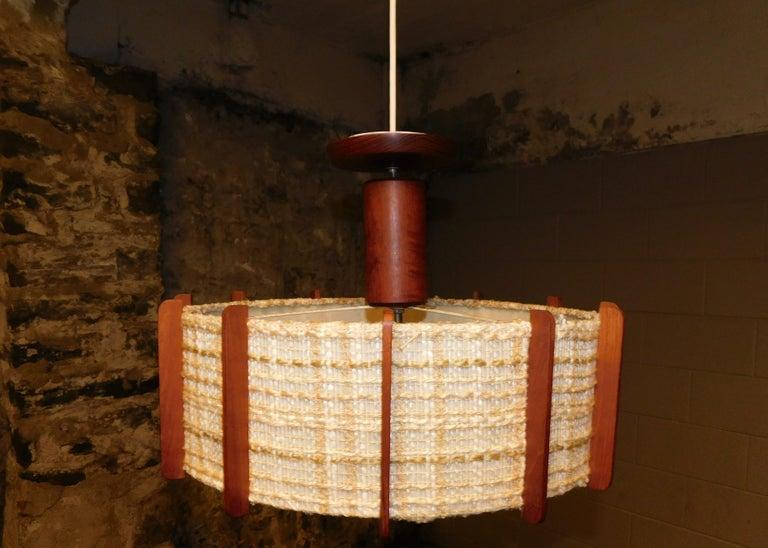 Fog & Mørup Style Danish Teak Ceiling Light 4