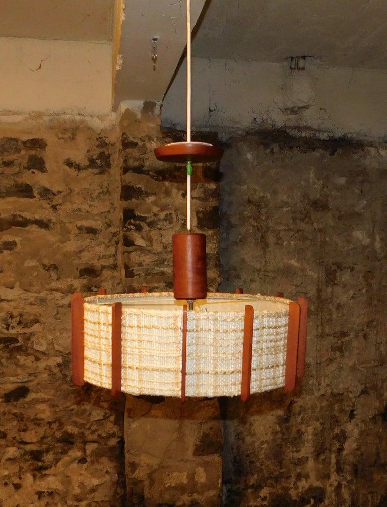 Fog & Mørup Style Danish Teak Ceiling Light 7