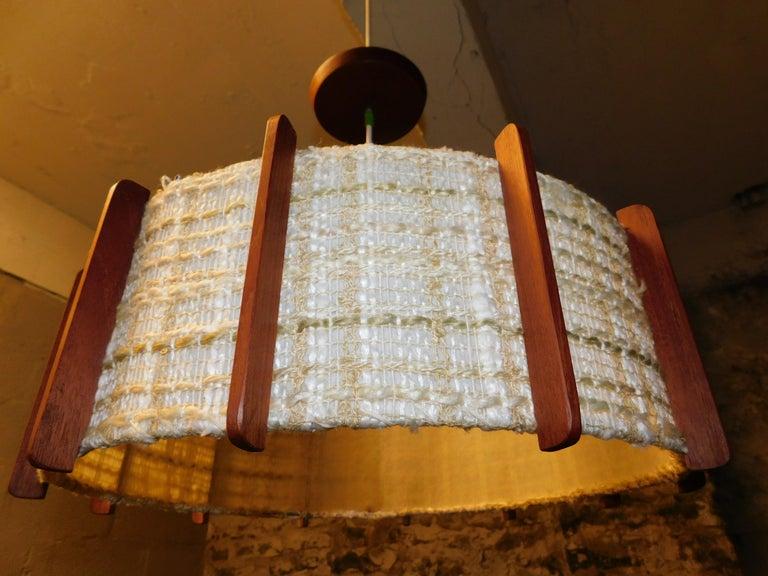 Fog & Mørup Style Danish Teak Ceiling Light In Good Condition In Hamilton, Ontario