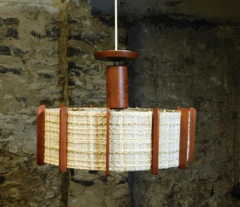 Fog & Mørup Style Danish Teak Ceiling Light 1