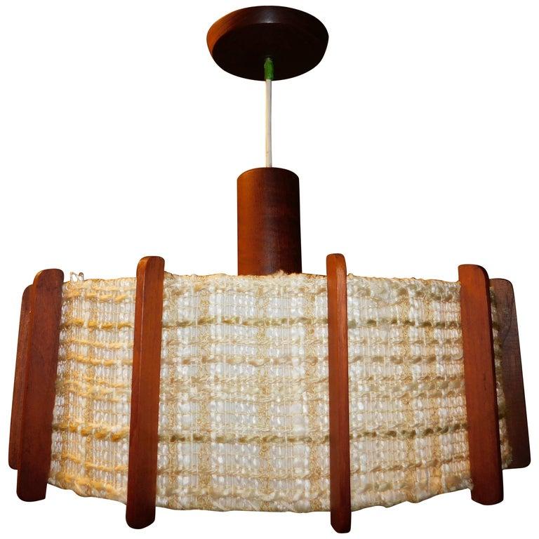 Fog & Mørup Style Danish Teak Ceiling Light