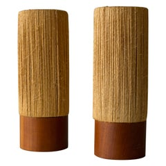 Fog & Mørup Table Lamps New Old Stock Pair in Jute & Teak Scandinavian Modern