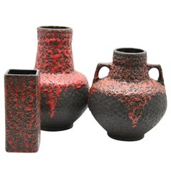Fohr Ceramics 'Germany' Vases with Red Lava on Black