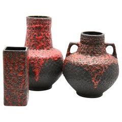 Fohr Ceramics 'Germany' Vases with Red Lava on Black