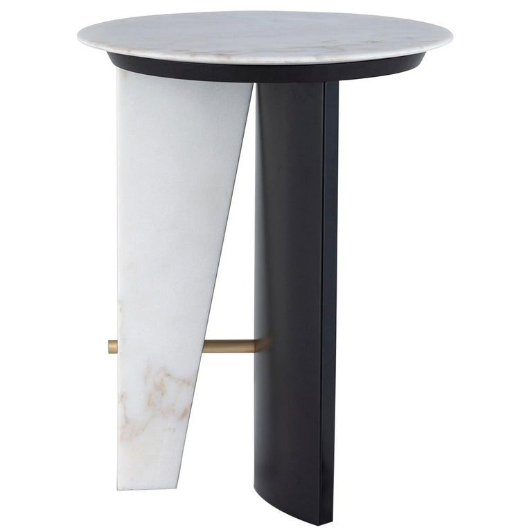 Foice Side Table Calacatta Bianco Marble Oxidized Brass Satin Black Lacquered For Sale