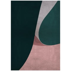 Foil Green & Pink Area Rug in Hand-Tufted Wool & Botanical Silk by Rug'Society