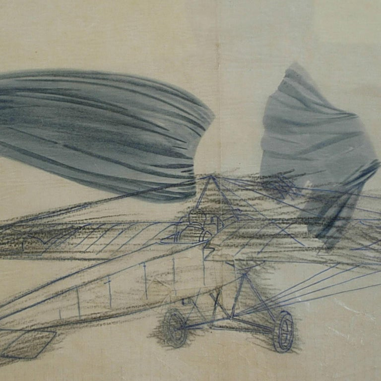 Pencil drawing drawn by Riccardo Cavigioli in the early 1920s depicting a Germanic single-seat monoplane fighter Fokker M 5, produced in 1915 by KMG, equipped with single gun firing through the propeller. Measure with frame cm 56 x 40 - inches 22 x