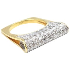 Fold Diamond Pavé Gold Ring