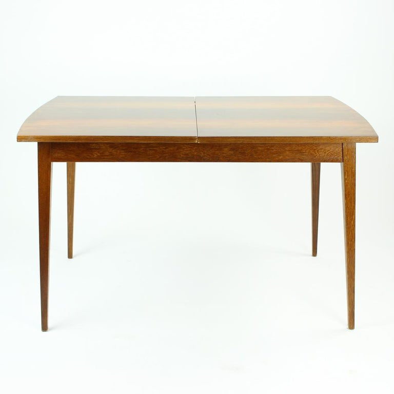 Fold Out Dining Table in Walnut Veneer for Jitona, Czechoslovakia, 1970 For Sale 4