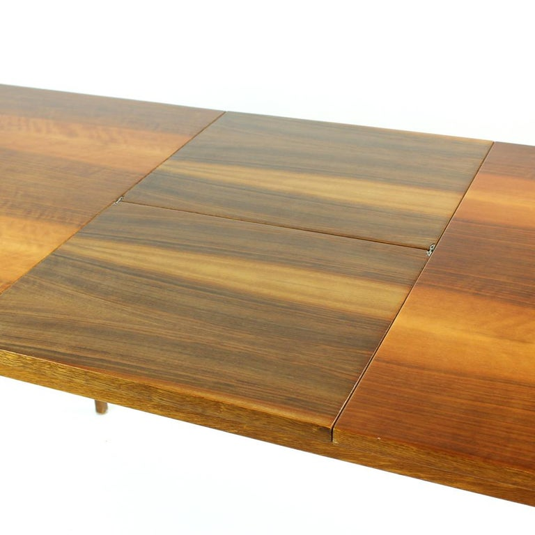 Mid-Century Modern Fold Out Dining Table in Walnut Veneer for Jitona, Czechoslovakia, 1970 For Sale