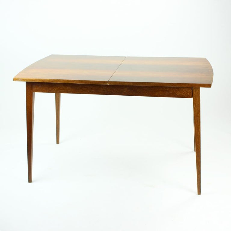 Wood Fold Out Dining Table in Walnut Veneer for Jitona, Czechoslovakia, 1970 For Sale