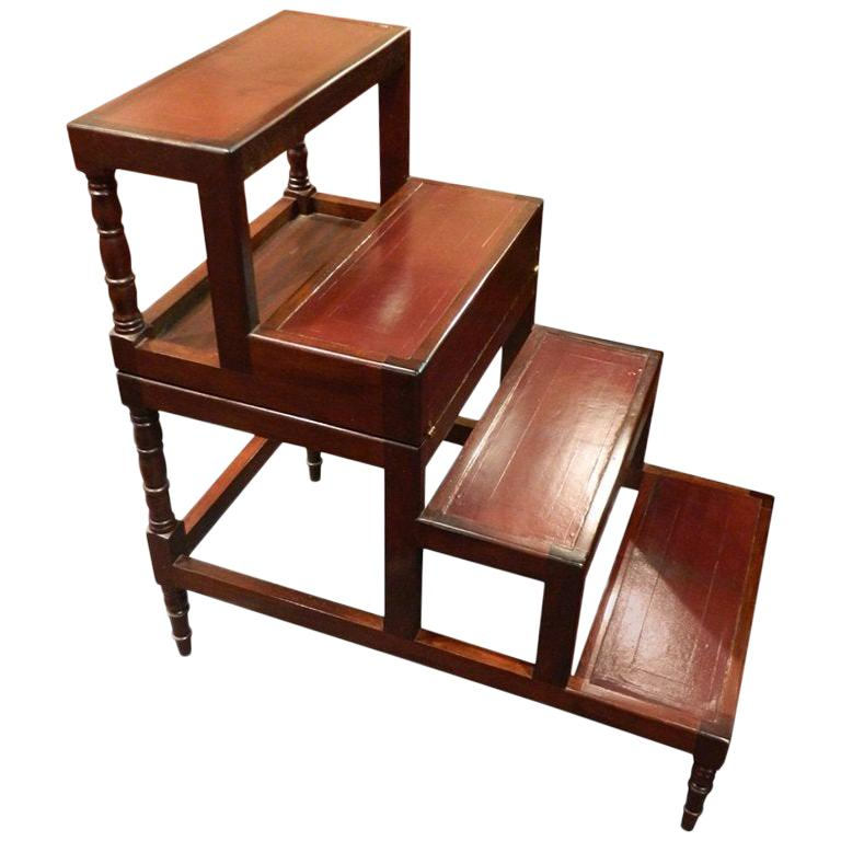 Fold over Bed Step Ladder or Table on Turned Legs, 19th Century