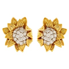 Fold over Sunflower Earrings with Diamonds