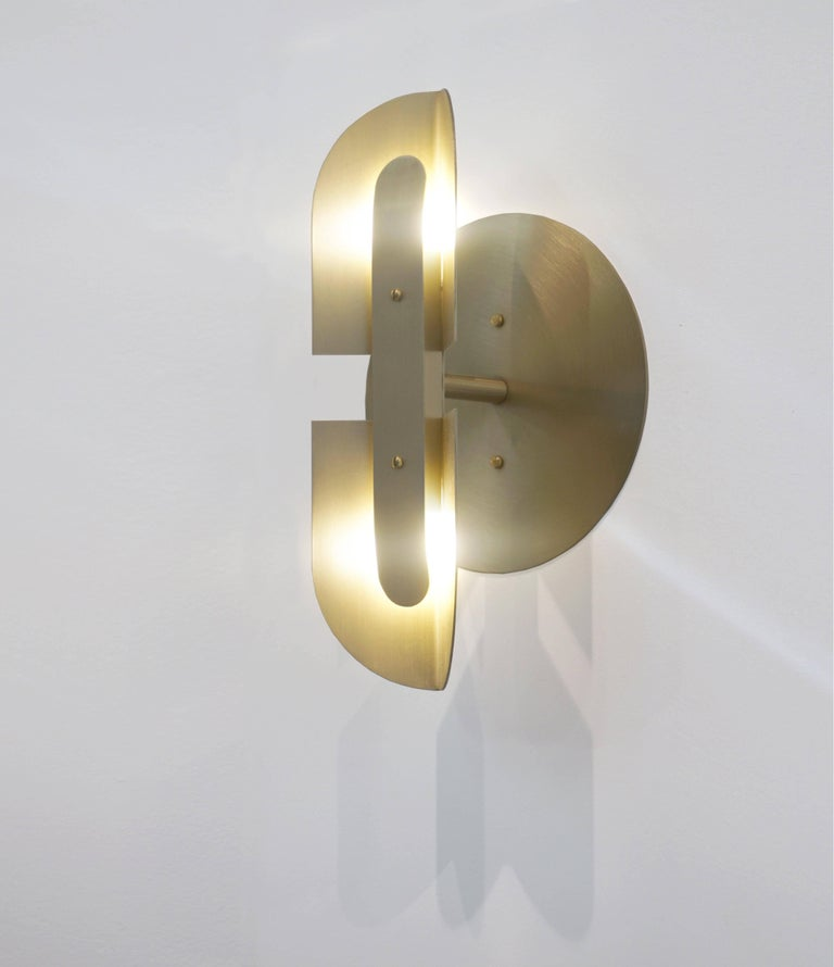 Modern Fold Sconce 'Pair' in Satin Brass by Simon Johns For Sale