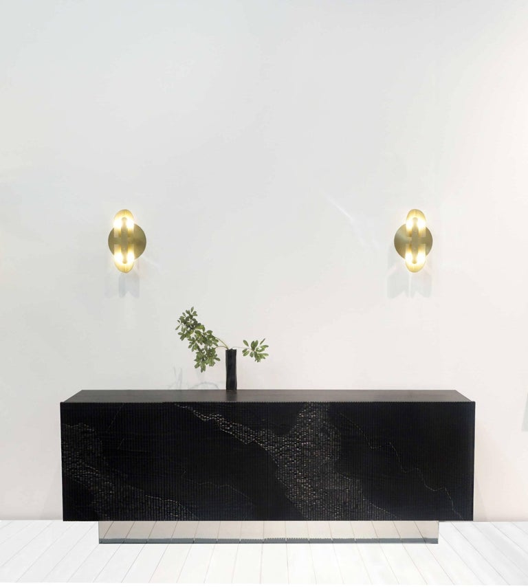 Canadian Fold Sconce 'Pair' in Satin Brass by Simon Johns For Sale