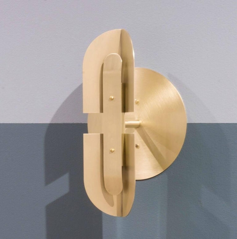 Plated Fold Sconce 'Pair' in Satin Brass by Simon Johns For Sale