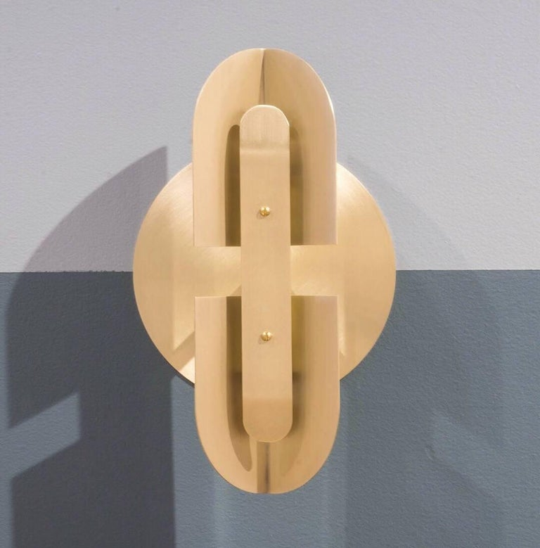 Fold Sconce 'Pair' in Satin Brass by Simon Johns In New Condition For Sale In East-Bolton, Quebec