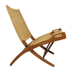 Pair of foldable Armchair in Wood and Rope in Style of Gio Ponti