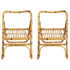 Foldable Bamboo Chairs Pair, Italy, 1970s