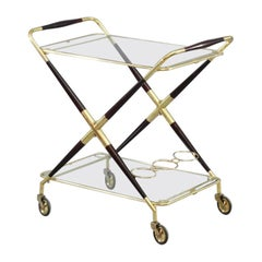 Foldable Bar Trolley Cesare Lacca Italy 1950 with Two Serving Trays
