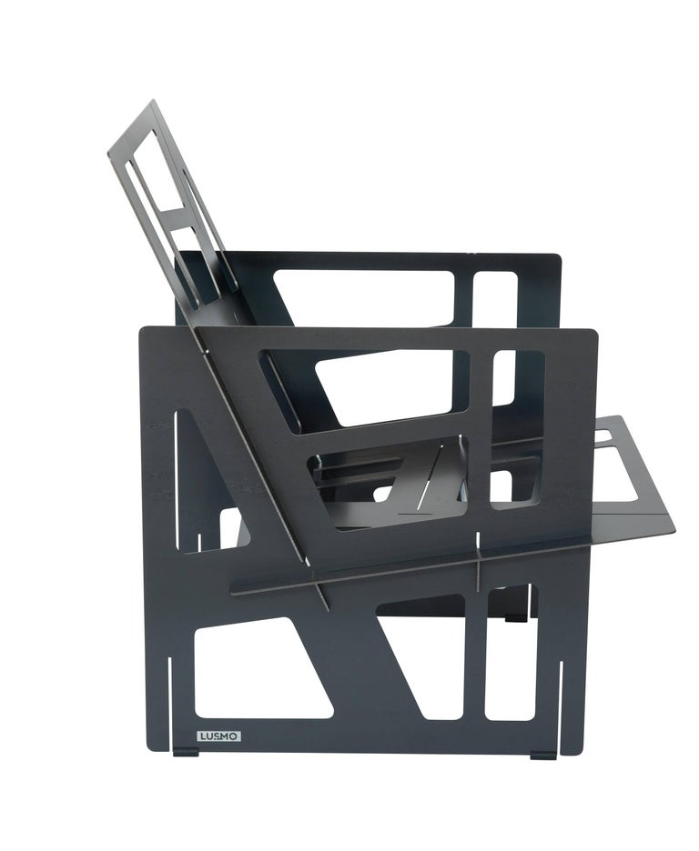 Foldable Industrial Lounge Chair in Steel and Blue Cushion