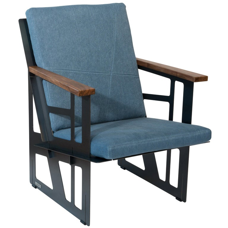 """Foldable Industrial Lounge Chair in Steel and Blue Cushion """"Tokio 101 - Cube"""" For Sale"""