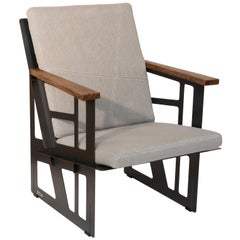 """Foldable Industrial Lounge Chair in Steel and Grey Cushion """"Tokio 101 - Cube"""""""