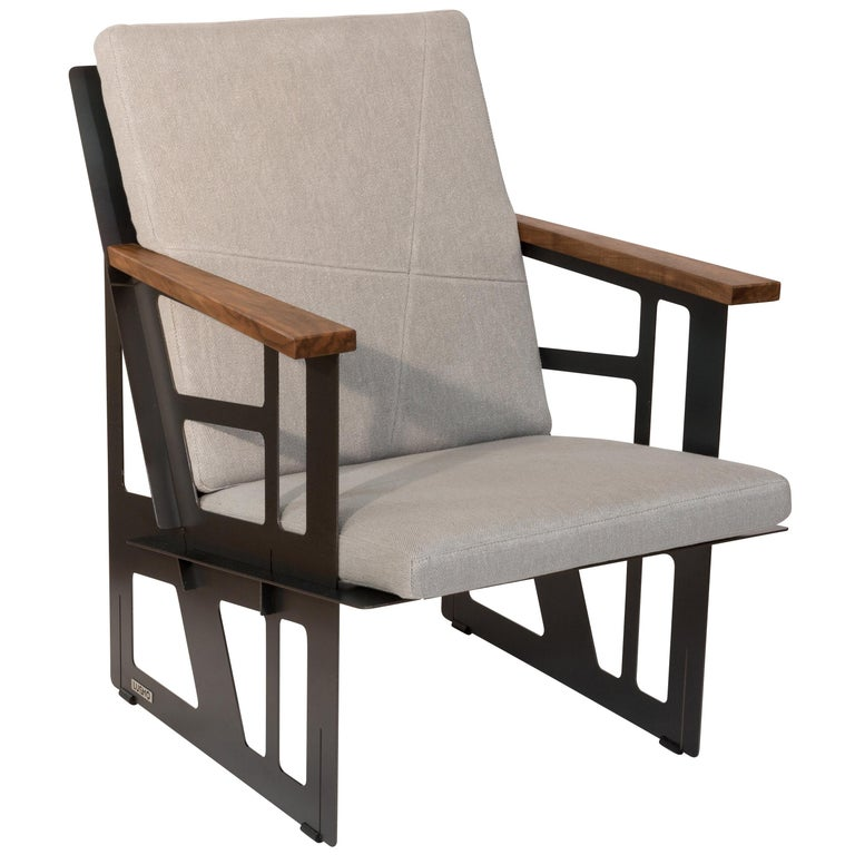 """Foldable Industrial Lounge Chair in Steel and Grey Cushion """"Tokio 101 - Cube"""" For Sale"""