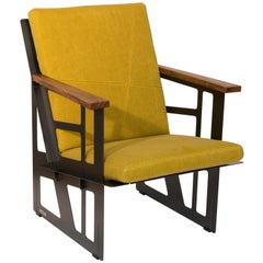 "Foldable Industrial Lounge Chair in Steel and Yellow Cushion ""Tokio 101-Cube"""