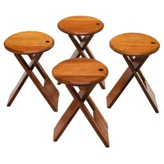 Foldable Stools or Side Table in Stained Beech