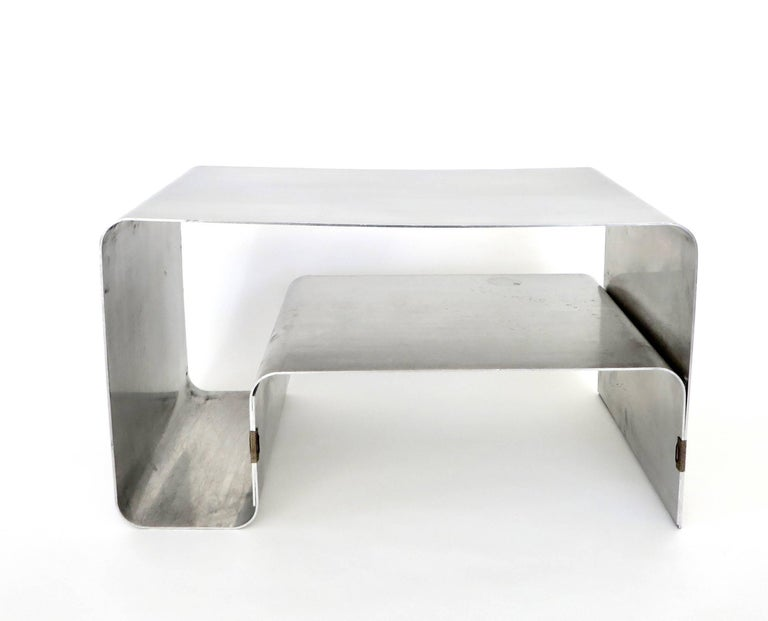 Mid-Century Modern Folded and Brass Clipped Steel Coffee or Side Table by Joelle Ferlande for Kappa For Sale